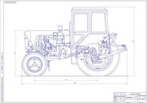 Чертеж общего вида трактора Т-25 в масштабе 1:4, с указанными размерами (формат А1)