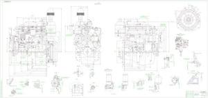 Сборочный чертеж дизельного двигателя Д-246.1 в масштабе 1:2.5, разрезов Д, Л, Э, М-М, Б, Р, Ю-Ю, К-К, Ч, Г-Г, И, Е, В, Т, Ш, Ж-Ж и А, с размерами  (формат А1*3)