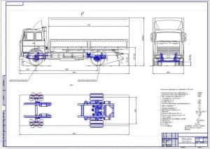 1.Общий вид грузового автомобиля МАЗ-5340 с детальной прорисовкой передней и задней подвесок: в трех проекциях (формат А1)