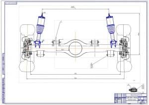 1.Монтажный чертеж установки передней подвески (независимая на поперечных рычагах с пневмостойками) на автомобиль Нива-Шевроле (формат А1).