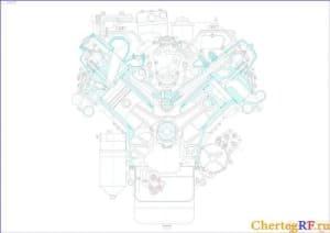 Сборочный чертеж поперечного разреза двигателя марки 8 Ч 12/13 (формат А1 )
