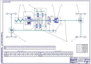 1.Кинематическая принципиальная схема автомобиля УАЗ-3163 (формат А1)