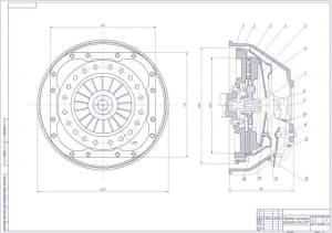 Чертеж сборочный сцепления легкового автомобиля ВАЗ-2107, в 2х проекциях – виды спереди и сбоку, с указанными габаритными размерами (формат А1).