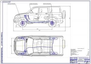 1.Общий вид легкового автомобиля УАЗ-3163 Патриот (формат А1) с детальной прорисовкой тормозной системы