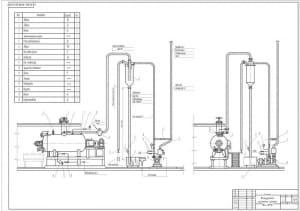 Чертеж схемы вакуумной системы котла Ж4-ФПА в масштабе 1:20 (формат А1)