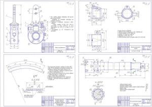 Сборочный чертеж регулировочного рычага с деталировкой для колодки заднего тормозного механизма (формат А3х4, сформирован на формат А1)
