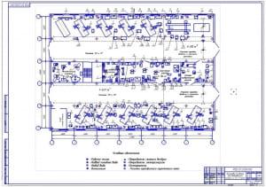 Чертеж планировки основного производственного корпуса по техническому обслуживанию и ремонту машин дорожно-строительного управления на формате А1