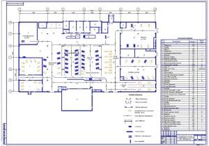Чертеж планировочного решения производственного корпуса на формате А1. Исходя из имеющегося опыта проектирования СТО, площадь технических помещений может быть принята из расчета 5...10 %, а складских  7...10 % от площади производственных помещений.