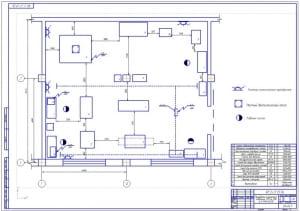Чертеж планировки агрегатного отделения автотранспортного предприятия АП на 200 грузовых автомобилей МАЗ-64226 (формат А1)
