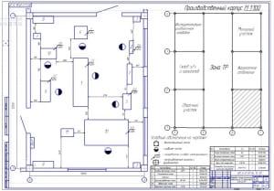 Чертеж планировки слесарно-механического отделения на 321 автомобиль ПАЗ-627М  (формат А1)