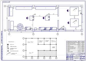 Планировочный чертеж шиномонтажного отделения автотранспортного предприятия АТП на 405 автомобилей ГАЗ-3307 (формат А1)