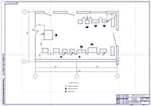Чертеж планировки участка по ремонту электрооборудования (формат А1)