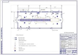 Чертеж технологической планировки участка УМР (уборочно-моечных работ) (формат А1) в масштабе 1:50