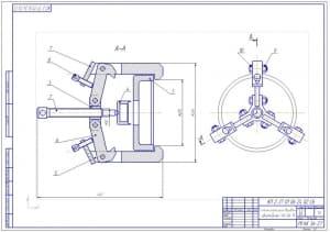 Чертеж съемника тормозного барабана автомобилей ГАЗ-66-11 (формат А2)