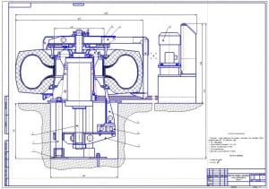"1.Общий вид стенда для монтажа и демонтажа колес автомобиля ""Белаз"" (формат А1)"