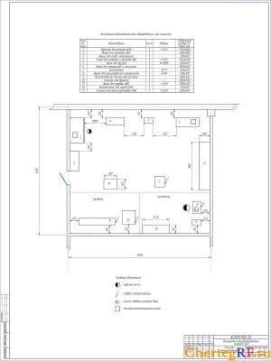 Чертеж участка аккумуляторного планировки производственного корпуса АТП