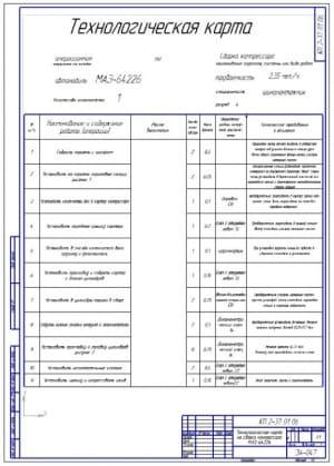 Чертеж технологической операционной карты сборки компрессора грузового автомобиля МАЗ-64226 (формат А2)
