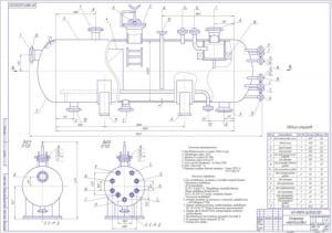 Общий вид горизонтального нефтегазового сепаратора с сетчатой отбойной насадкой (формат А1) с таблицей штуцеров