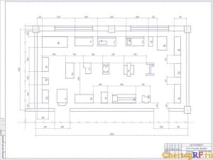 Чертеж агрегатного участка АТП. Выполнена планировка оборудования. На чертеже указаны внутренние и внешние размеры. Чертеж выполнен в масштабе 1:20 (формат А1)