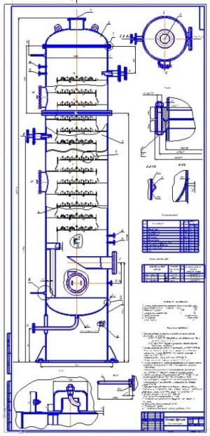 Сборочный чертеж колонны бражной ректификационной установки косвенного действия для разделения водно-спиртовой смеси                                  (формат А2х3)