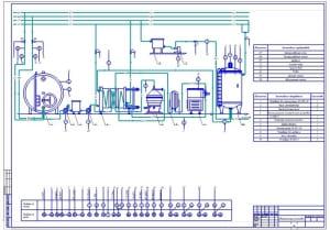 Чертеж операционно-технологической схемы производства кефира (формат А1)