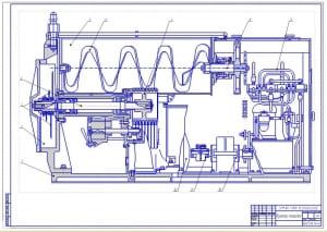 Чертеж сборочный куттера мешалки в разрезе (формат А1)