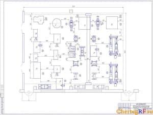 Чертеж агрегатного участка АРП для ремонта полнокомплектных автомобилей ЗиЛ-130, КамАЗ – 4310. На чертеже имеются размеры, обозначения и позиции. Планировка чертежа 1:25 (формат А1)