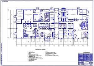Чертеж плана производственного корпуса маслодельного комбината (формат А0)