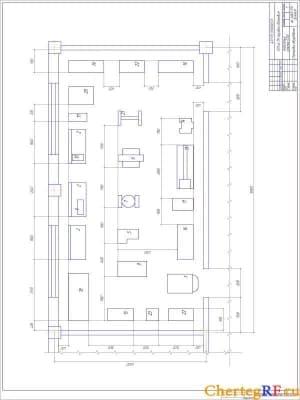Чертеж генерального плана АТП на 173 грузовых автомобиля с техническими характеристиками: общая площадь предприятия – 6,69 Га; площадь застройки – 30108 кв.м