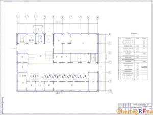 Чертеж производственного корпуса станции технического обслуживания. На чертеже обозначены номера участков, помещений и сооружений: 1. Пост регулировки углов колес