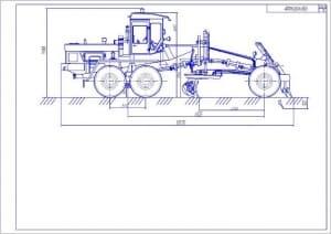 1.Чертеж автогрейдера ДЗ-122Б вид сбоку с колесной формулой 1х2х3 А1