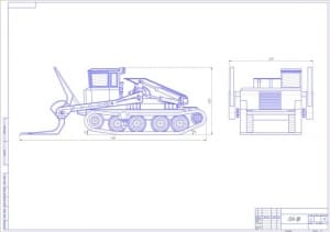 1.Чертеж общего вида в двух проекциях модернизированного лесо-погрузчика грузоподъемностью 3200 кг модели ПЛ-1В на базе трактора ТДТ-55 для производства хлыстов  А1