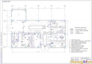 Чертеж плана центральной ремонтной мастерской (формат А1)