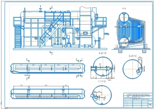 Чертёж общего вида парового двухбарабанного котла ДЕ-25-14