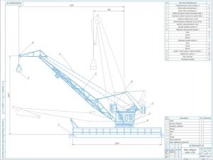Чертёж общего вида крана плавучего типа КПЛ 8-25 со спецификацией и техническими характеристиками выполнен в масштабе 1:120 на формате А1
