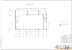 Архитектурно-строительный чертеж плана на отметке 1500