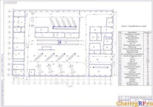 Чертеж главного производственного корпуса содержит план главного производственного корпуса с таблицей №1