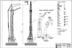 1.Чертеж общего вида башенного крана КБ-306(С-981) с кинематической схемой механизма подъема А1