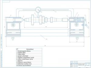 Сборочный чертёж приспособления для контроля радиального биения (погнутости) цилиндрических валов (осей) при вращении в масштабе 1:1 на формате А1