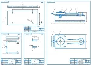 Комплект чертежей кондуктора для механической обработки втулки верхней головки шатуна двигателя внутреннего сгорания на четырёх листах в масштабе 1:1