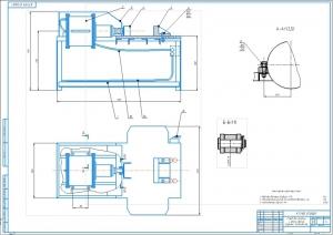 1.Общий вид стенда для разборки сборки и рессор грузовых автомобилей А1 в двух проекциях