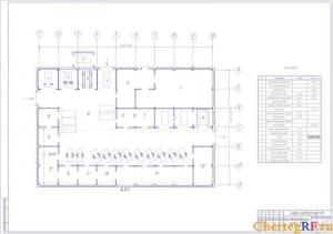 Чертеж производственного корпуса СТО (формат А1
