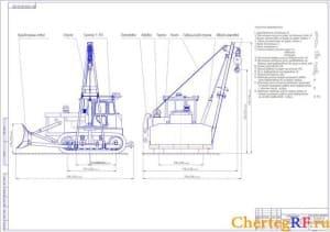 Чертеж в программах Компас и Автокад вида общего гусеничного трактора Т-170