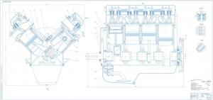 На сборочном чертеже двигателя П-8И указаны номера позиций деталей и их взаимное расположение. Чертеж выполнен на формате А1