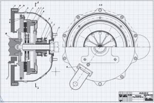 Сборочный чертеж фрикционного сцепления с диафрагменной пружиной, однодисковое, с упругим ведомым диском на формате А1