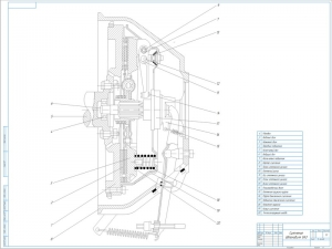 Сборочный чертёж сухого однодискового сцепления грузопассажирского автомобиля УАЗ выполнен в масштабе 1:1 на формате А1