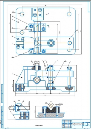 Сборочный чертеж приспособления для сверления отверстия диаметром 10 мм для вертикально-сверлильного станка 2Н125 на формате А1