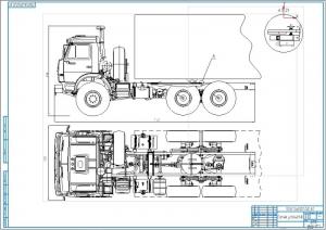 1.Чертеж общего вида тягово-сцепного устройства двухзвенного транспортного средства на формате А1