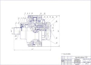 Сборочный чертеж насоса аксиально-поршневого роторного траншейного экскаватора в масштабе 1:1, с указанными размерами для справок и позициями деталей (формат А1 )