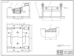 1.Сборочный чертеж приспособления для фрезерования плоскости прилегания головки цилиндров с техническими требованиями